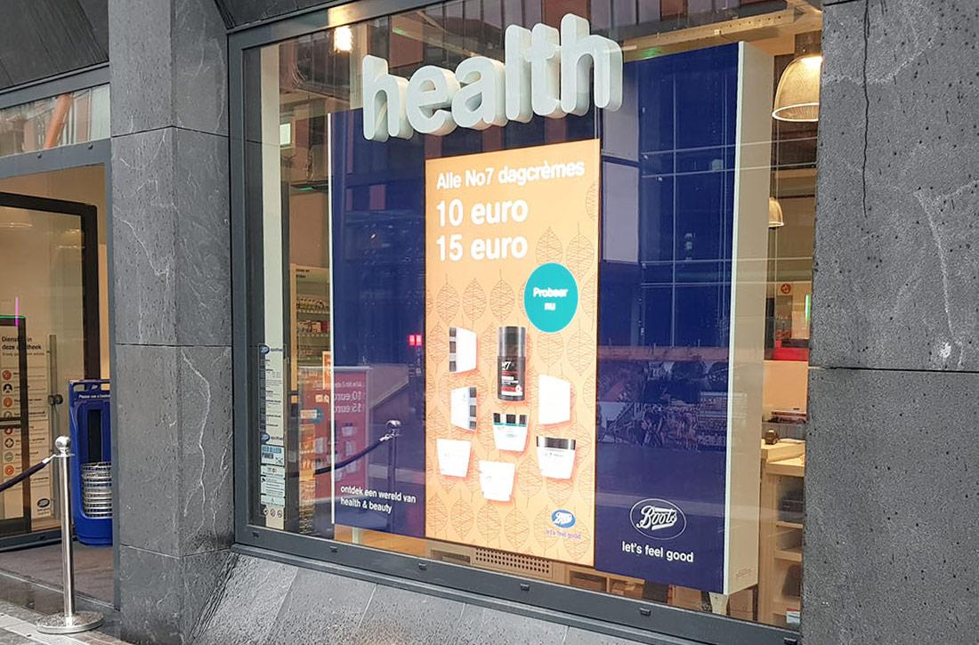 Digital window display for Boots