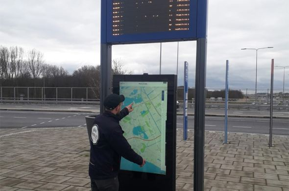 Outdoor kiosk shows the way for travelers
